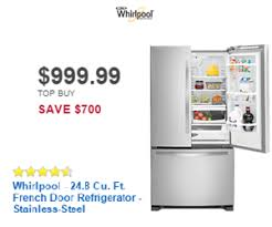 black friday appliance deals at best buy whirlpool 24 8 cu ft french door refrigerator stainless
