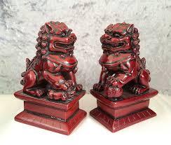 asian lion statues vintage true pair black rosewood foo dog guardian lion