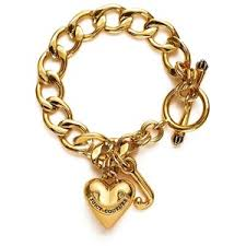 gold bracelet with heart charm images Juicy couture womens gold heart starter charm bracelet polyvore out=j