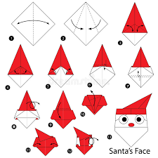 How To Make A Origami Santa - step by step how to make origami santa stock