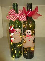 gingerbread men lighted hand painted wine bottles glass
