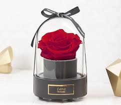 personalized rose music box enchanted rose rose in glass