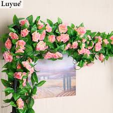 cheap garlands for weddings m artificial silk flower leaf garland plants home