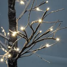large prelit twig tree led indoor outdoor rustic snowy