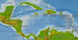 carribbean map central america physical map freeworldmaps