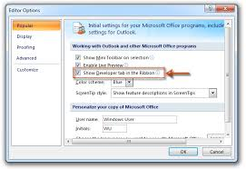 how to add developer tab on ribbon in outlook