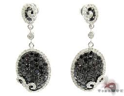black chandelier earrings 14k gold black and white diamond chandelier earrings 25575