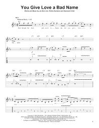 Bad Day Chords You Give Love A Bad Name Sheet Music By Bon Jovi Guitar Tab Play