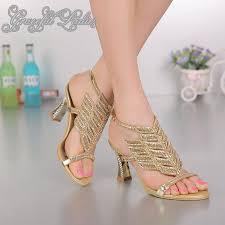 wedding shoes block heel crystals 8cm block heel rhinestones wedding sandal new arrival