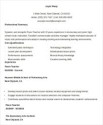 Music Resume Examples by Free Teacher Resume 40 Free Word Pdf Documents Download Free