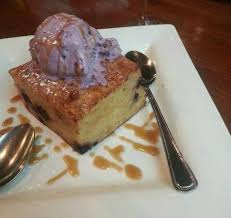 delicious blueberry bread pudding with homeade ice cream picture