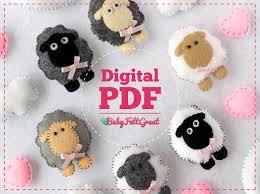 felt ornament sheep pdf sewing pattern diy felt nursery decor moon