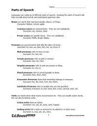 parts of speech worksheet packet edboost