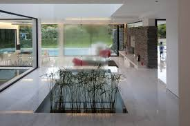 excellent living room decor with long glass waterfall design also