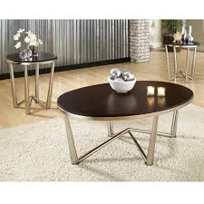 Cherry Wood Living Room Furniture Steve Silver Cosmo Oval Cherry Wood 3 Piece Coffee Table Set