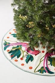embroidered pheasant tree skirt anthropologie