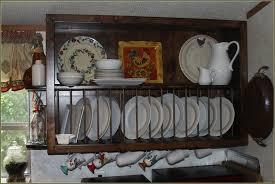 plate hangers for wall mounted plates kitchen dark brown wooden rack with long shelf on the top