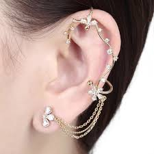 cuff earrings with chain floral vine wrap clip on tassel chain ear cuff earring tassel ear cu