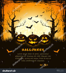 orange grungy halloween background scary pumpkins stock vector