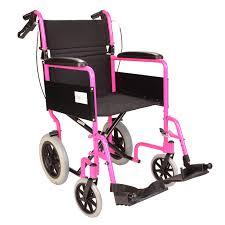 lightweight folding pink wheelchair with handbrakes fenetic
