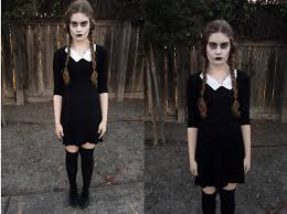 sisi h thrift dress thrift shoes knee highs wednesday addams