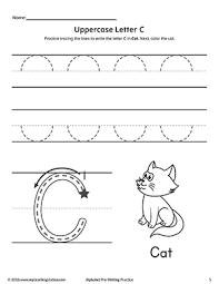 uppercase letter c pre writing practice worksheet writing
