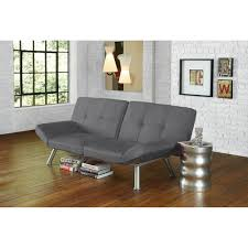 decorating black leather futon couch with chrome legs for home