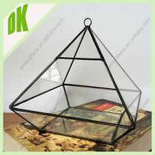 black metal and glass pyramid shape terrarium home u0026 garden
