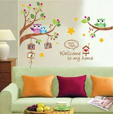 Home Decor Wholesale Market Aliexpress Com Buy Cartoon Creative Colorful Tree Owls Photo