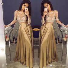 Black And Gold Lace Prom Dress Beautiful Lace Long Sleeve Gold Two Piece Prom Dresses 2017 Satin