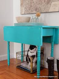 Turquoise Entry Table by Number Fifty Three Vibrant Antique Drop Leaf Table