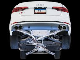 audi s4 exhaust awe non res track exhaust audi s4 b9 102mm black tips