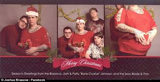 joshua brassow poses for christmas card with strangers to prank