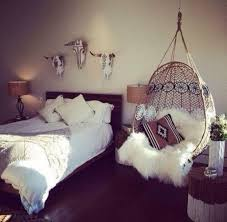 wicker hanging chair for rustic bedroom decorating ideas with fur