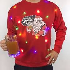 mens light up ugly christmas sweater light up ugly christmas sweater mens santa beer led tacky holiday