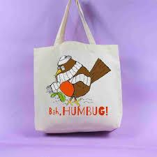 robin tote bag christmas decoration christmas present bah humbug
