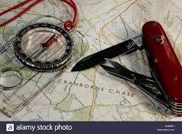 Map With Compass Cranborne Chase Shown On Map With Compass And Swiss Army Knife