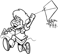 flying kite coloring getcoloringpages