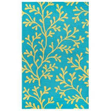 Floral Outdoor Rug Teal 9 X 12 Outdoor Rugs Rugs The Home Depot