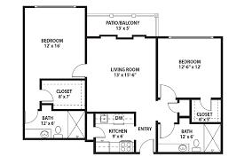2 bedroom 2 bath floor plans independent senior living floor plans pinecrest