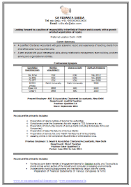 Accountant Resume Samples by Sample Template Of An Excellent Experienced Chartered Accountant