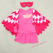 Owl Halloween Costume Pattern Finished Flat Lay Do It Yourself Pj Masks Owlet Costume How To