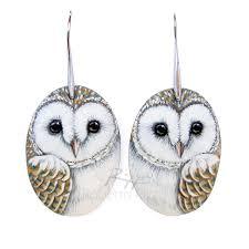 owl earrings pair of unique barn owl earrings painted jewels by roberto