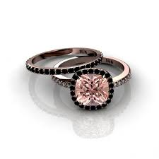 black bridal sets 2 00 carat morganite and black diamond halo bridal set in 10k