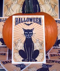 halloween black cat art print u2014 high fidelity prints