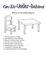 english teaching worksheets in on under behind