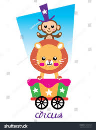 circus tshirt graphics cute cartoon characters stock vector