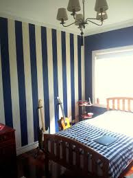 Dark Blue Bedroom by Stripes In Navy On One Wall Behind Headboard Charmaine U0027s Room