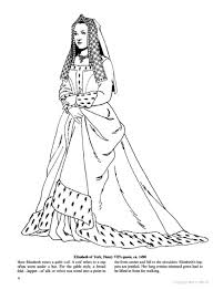 elizabeth of york 1490 coloring page historical fashion coloring