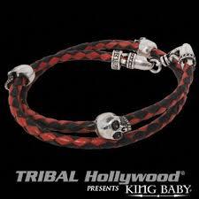 black leather skull bracelet images Double wrap skull bracelet mens red and black leather jpg